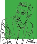 Line art of Professor Eric Talley on a green background