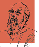 Line art of Professor Michael Graetz on a red background