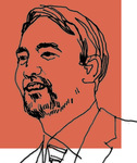 Line art of Professor Tim Wu on a red background
