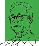Line art of Professor Ira M. Millstein on a green background