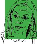 Line art of Professor Anu Bradford on a green background