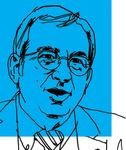 Line art of Professor Petros C. Mavroidis on a blue background